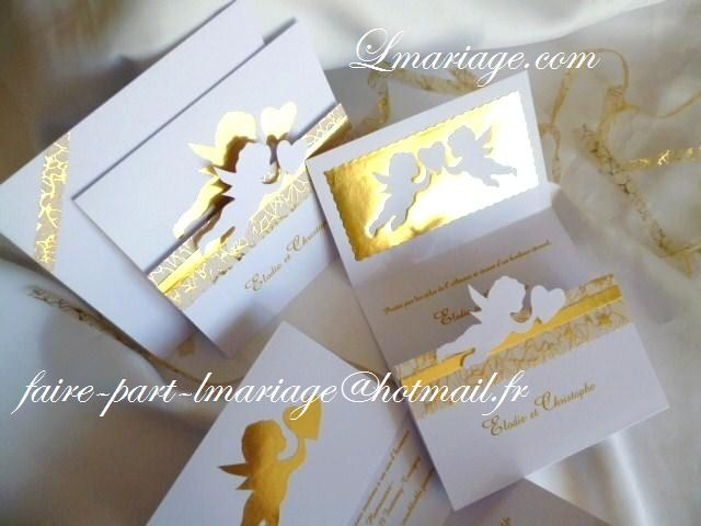 Bien-aimé Faire-part et carte de remerciement thème anges prestige en blanc  QQ65